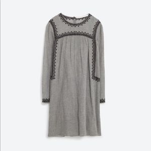 Zara Embroidered Button Back Long Sleeve Tunic